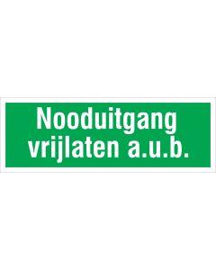 0 - pictogram-sticker-nooduitgang-vrijlaten-25x9cm